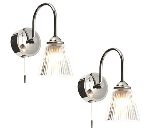 Pair of modern chrome clear ribbed glass ip44 bathroom wall lights with pull cord switch by first choice lighting