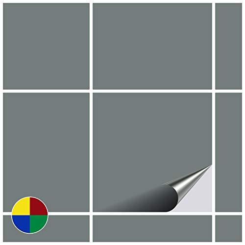 FoLIESEN Fliesenaufkleber für Bad und Küche - 15x15 cm - grau glänzend - 20 Fliesensticker für Wandfliesen