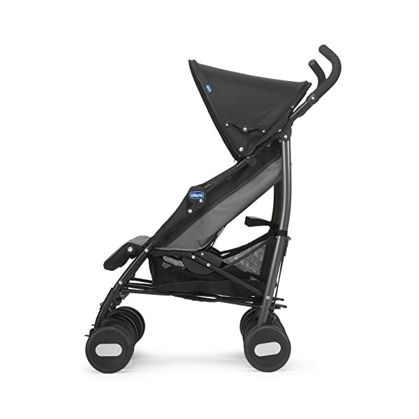 Chicco Echo Twin Stroller Coal - Black  With elliptical frame tubes in contemporary angles Features elegant stay clean wheels with repeat logo details to match name seat graphic Lockable front swivel wheels 11