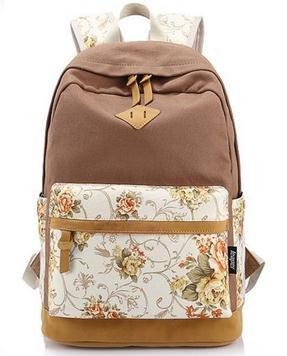 Imagen de icase4u® 2015 multi función moda  bolsa escolar tipo casual bonita de lona de viaje  de marcha para picnic para mujer o chica buena calidad flores caqui  alternativa