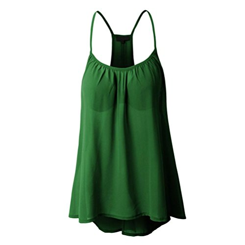 MRULIC Damen Viele Größen Verfügbar Regelmäßige Sommerweste Shirt Tops Optionale Farbe(Grün,EU-34/CN-S)