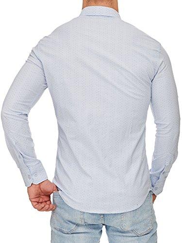 TAZZIO Herren Styler Langarm Hemd G-708 Hell-Blau