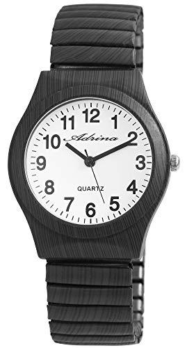 ADRINA Damenuhr Weiß Grau Holz-Optik Analog Quarz Metall Zugband Arabische Ziffern Armbanduhr
