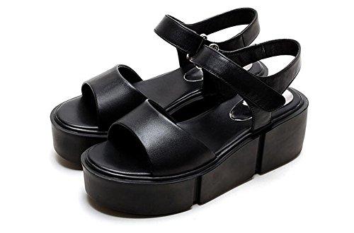 Beauqueen Plattform Open-Toe Mönch-Riemen Vintage Frauen Casual Work Beach Elegante Sandalen Europa Weiß Schwarz Größe 34-39 Black