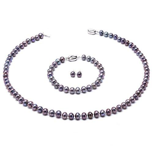 JYX klassisches Schmuckset mit Halskette, Armband und Ohrringen, aus 7-8mm dunkel-violetten Süßwasserperlen