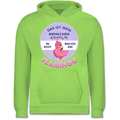 Neun Menschen Kostüm - Shirtracer Karneval & Fasching Kinder - Das ist Mein Menschen Kostüm in echt Bin ich EIN Flamingo - 9-11 Jahre (140) - Limonengrün - JH001K - Kinder Hoodie