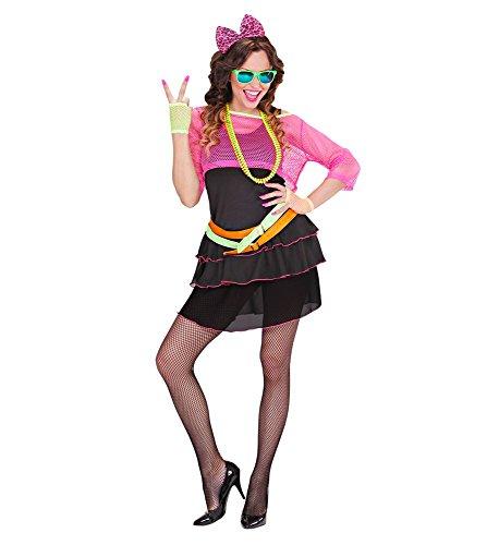 e Girl Damen-Kostüm 80er Jahre Madonna Cindy Lauper Disco Pop Neon Pink Achtziger Netz, Größe:M ()