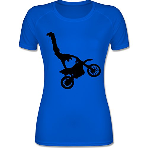 Shirtracer Motorsport - Motorrad Stunts - M - Royalblau - F355 - atmungsaktives Funktionsshirt für Damen