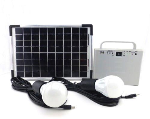 10W Tragbar netzferne klein Solar Power System für Hause Beleuchtung Kit mit 2LED-Lichtern Solarmodul und Akku für Camping Angeln Laden (Haus Solar-panel-kit)