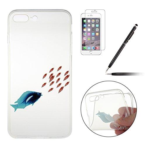 iPhone 7 Plus Silikon Hülle,iPhone 7 Plus Case,iPhone 7 Plus Schutz - Felfy Ultra Dünnen Weiche Gel Elegant TPU Back Case Cover Schutz Zurück Handy Tasche Etui Hülle Schutzhülle Crystal Clear TPU Case Feeding Frenzy