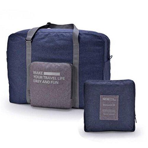 Sacchetti di viaggio portatili pieghevoli in nylon unisex Grande borsa da viaggio valigia integrata borsa da viaggio Business Trip Bagagli aere(orange) navy blue
