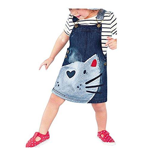 Bekleidung Longra Kinder Baby Mädchen Denim Kleid Straps Sundress Print Stück Kleid Kleidung Outfits(2-6 Jahre) (130CM 6Jahre, Blue) (Mädchen Stück Blaue 2)