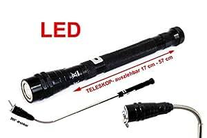 Led teleskop taschenlampe schwarz mit magnet und flexkopf