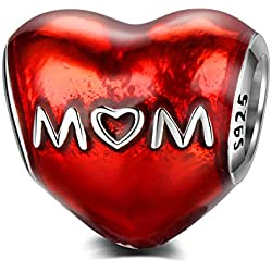"""Abalorio de plata de ley 925 con texto en inglés""""Love You, Mom"""" compatible con pulseras Pandora y todos los collares europeos"""