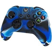 Assecure Pro - Funda para mando de Xbox One (silicona, empuñadura estriada), diseño de camuflaje, color negro y azul