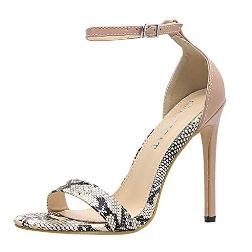 MEIbax Damen Snake-Grain Spitze Open Toe Super High Spike Ferse Sexy Schuhe Schnalle High Heels Party Sandaletten Pumps -