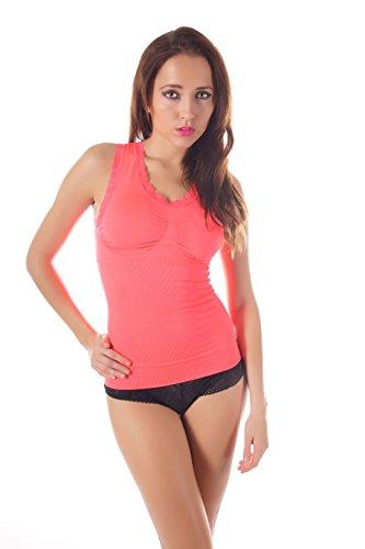 Damen figurformendes V-Top mit Stützzonen , in verschiedenen Farben 4146211 Neon Koralle