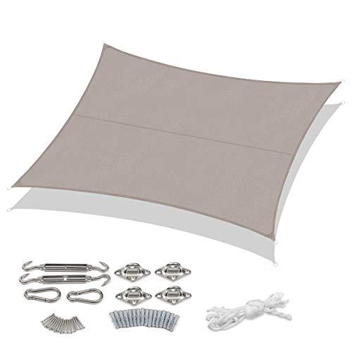 Sekey Sonnensegel Sonnenschutz PES Windschutz Wetterschutz Wasserabweisend Imprägniert 95% UV Schutz für Garten Outdoor Terrasse Camping Party, mit Seilen und Befestigung, 3 × 4m Taupe