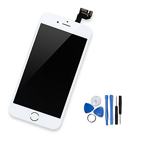 Yodoit iPhone 6s LCD Touchscreen Digitizer Front Komplettes Glas Display Retina Reparatur Ersatz Bildschirm Weiß mit Home Button,Hörmuschel, Frontkamera& Näherungssensor+Werkzeugset (4.7 - Plus Lcd Iphone Austausch 6