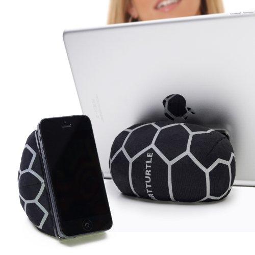 SMARTTURTLE multifunktionale iPad Halterung, Made in Austria, Sitzsack für Smartphone, Handy, eReader, Tablet, iPhone, iPad Air 1/2/3/4, Samsung Note Galaxy für Tisch, Bett, Sofa, Auto uvam - silber - Stoff Fall Kindle