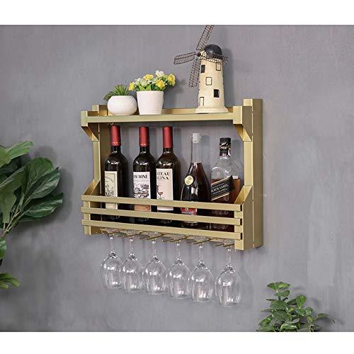 GX Estante para vinos, de Madera, para Bar Wood Wine Glass Holder Wine Stand Goblet Holder Enfriador de Vino para Colocar en la Pared Estante de Pared con Forma de Cubo para Vino,Gold