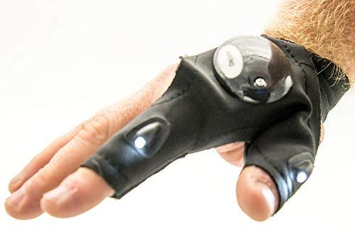1x guante sin dedos linterna led - ideal pesca, fotografía