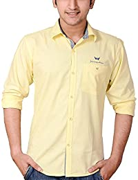 Anry Yellow Cotton Casual Shirts For Men (YEL4100)