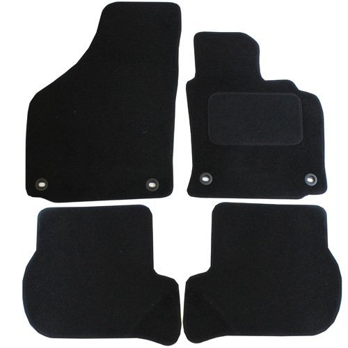 JVL Fully Tailored Car Mat Set with 4 Oval Clips - 4 Pieces, Black