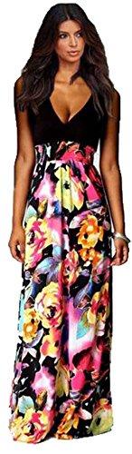 (Frau klassische sexy schwarze Spitze und mehrfarbige floral ärmelloses Maxi-Kleid Größe 42-44.)
