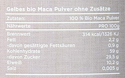 AUSVERKAUF ingenious nature® Laborgeprüftes Bio Maca Pulver 500g - von der gelben Maca Wurzel - 100{cf6e36b76024532103e181b19bdc38e01383449b50175980ad41f564819da8a3} rein, ohne Zusätze, roh, aus Peru. Angebaut auf über 4400m. Vorrat für 100 Tage.