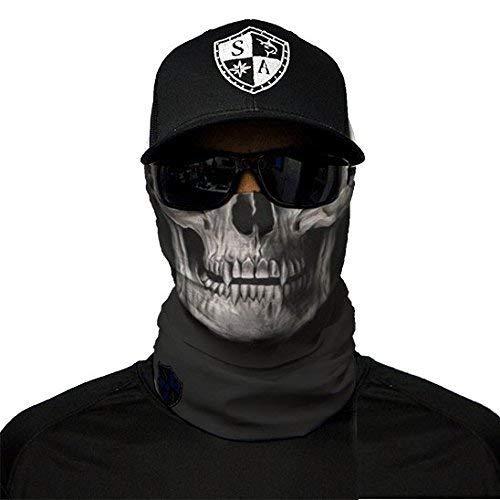 SA Fishing Face Shields ** 40+ Designs verfügbar ** Qualitäts Bandana/Multifunktionstuch/Schlauchtuch/Halstuch aus Stoff & SPF 40 - Face Masks von SA Company, Black Skull