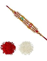 Aheli Mina Work AD & Wooden Beads Rakhi With Roli Chawal Tilak For Men Boys (Golden) (R24098)