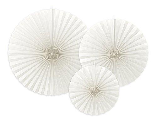 Partydeco conf. 3 Rosaces Rondes de Papier, Blanc, Emballage