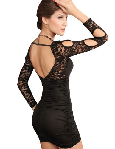 E-Girl Classic manches longues Holllow-out Round Collar Robe de soirée, Noir Noir