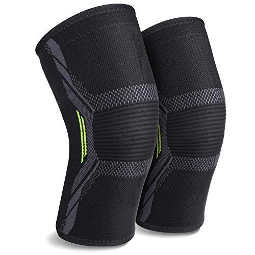 MUBYTREE Kniebandage Knieschützer für Sport und Alltag mit Doppelschichtsilikon und 3D-Elastischen Weben Anti-Rutsch Verpackung MEHRWEG (L)