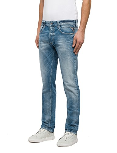 ... Replay Herren Straight Jeans Grover Blau (Blue Denim 10) ...