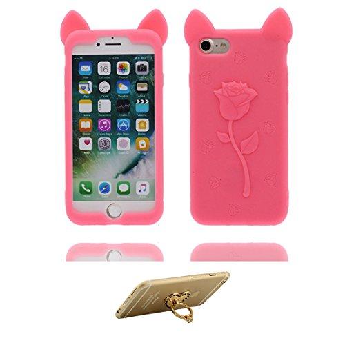 """iPhone 6 Plus Coque, 3D Cartoon Rose Oreilles de porc Cover iPhone 6s Plus étui (5.5 pouces) TPU souple Shell iPhone 6 Plus Case (5.5"""") poussière glissement résistant aux rayures Rose & ring Support Rose"""