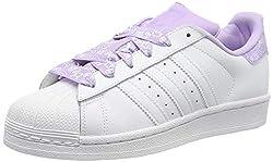 adidas Unisex-Kinder Superstar J-CM8599 Gymnastikschuhe, Weiß (FTWR White/FTWR White/Purple Glow FTWR White/FTWR White/Purple Glow), 37 1/3 EU