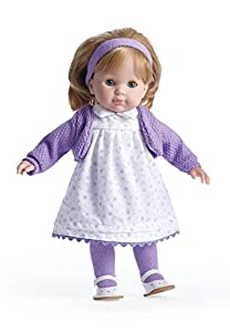JC TOYS- Carla Blonde Toddler, 14-Inch Soft Body Doll Dressed in Pretty Purple Flower Dress. Open and Close Eyes. Designed by BERENGUER for Children 3+, Color (30002)