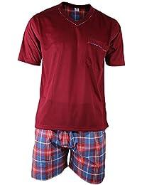 Herren Schlafanzug Shorty T-Shirt uni Hose im Karolook kurz 2-tlg in 5 Farben - Qualität von Lavazio®