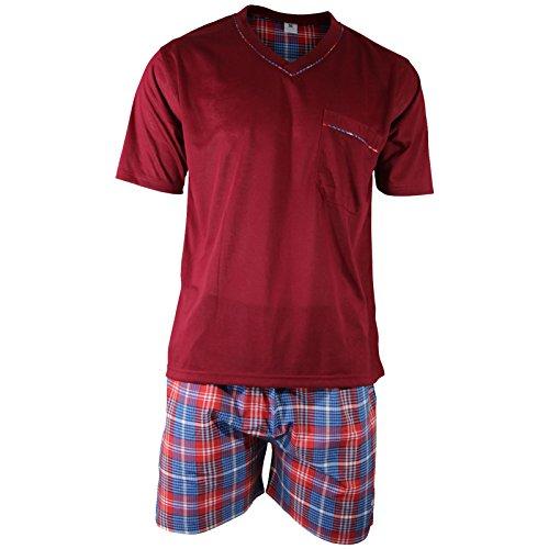 Herren Schlafanzug Shorty T-Shirt uni Hose im Karolook kurz 2-tlg in 5 Farben - Qualität von Lavazio® Weinrot