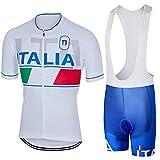 SUHINFE Abbigliamento Ciclismo Uomo, Completo Maglia Ciclismo con Pantaloni Corti da Ciclismo Asciugatura Asciugatura Rapida per MTB Ciclista, ITA-Blue, L