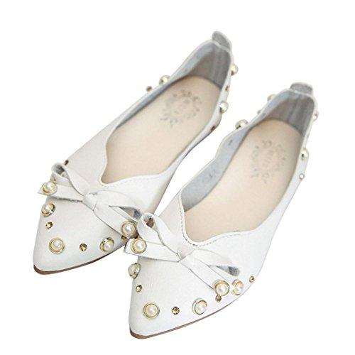 JIANGFU Shallow Mund Bogen Perle stellt Fuß Schuhe Damen-Einzel,Frauen Casual Schuhe Flats Slip-On Fliege Single Schuhe (39, WH) (Loafers Flats Perlen)