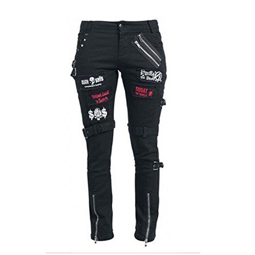 - KuroNeko Black Punk Trousers 205788 Punk GOTHIC Metal pantaloni di roccia nero M