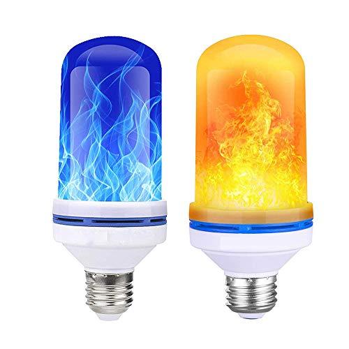 KNDJSPR 4Pcs LED Flamme Glühbirne, E27 Effekt Glühbirnes Birne, Flackernde Dekorative Atmosphäre Lampen, Gelb + Blau Birnes mit 4 Modi Effect, für Weihnachten Halloween Bar