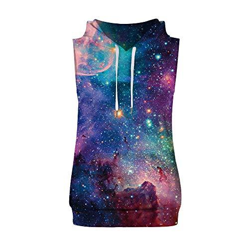 Goldatila Herren-Unterhemden Männer Explosive Casual Starry Kreative Print Mit Kapuze Weste Mit Kapuze Sleeveless Weste Rib Fleece-v-neck Sweatshirt