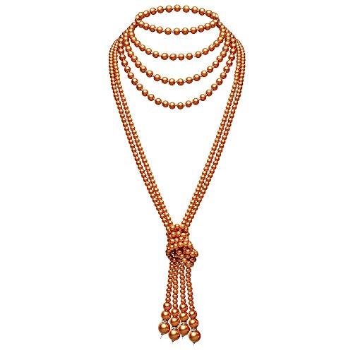 ArtiDeco 1920er Jahre Imitation Perlen Halskette Great Gatsby Stil Lange Knot Perlenkette 125 cm und 150 cm Karneval Mottoparty Flapper Zubehör (Champagner Gold Knot Kette x2 mit 150cm Kette x1)