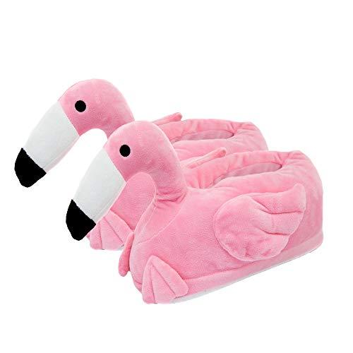 Close Up Flamingo Plüsch-Hausschuhe pink, Mikroplüsch aus 100% Polyester.