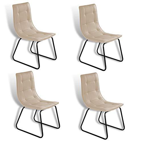 ESTEXO Retro Esszimmer Stuhl Modell Rakel Cappuccino 4er Set