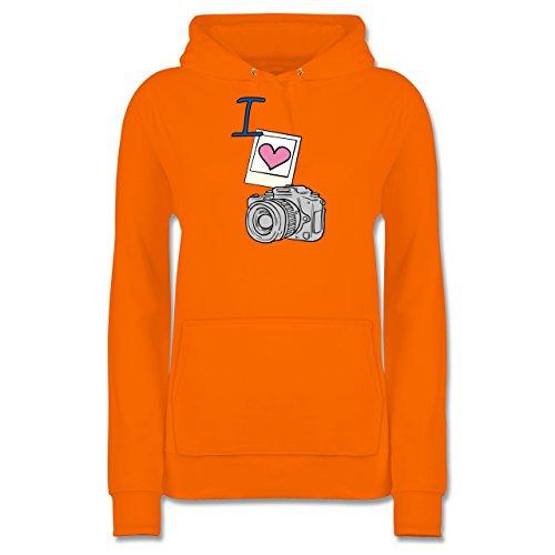 I Love - I Love Photography - S - Orange - JH001F - Damen Hoodie (Pullover 1960 Damen S)
